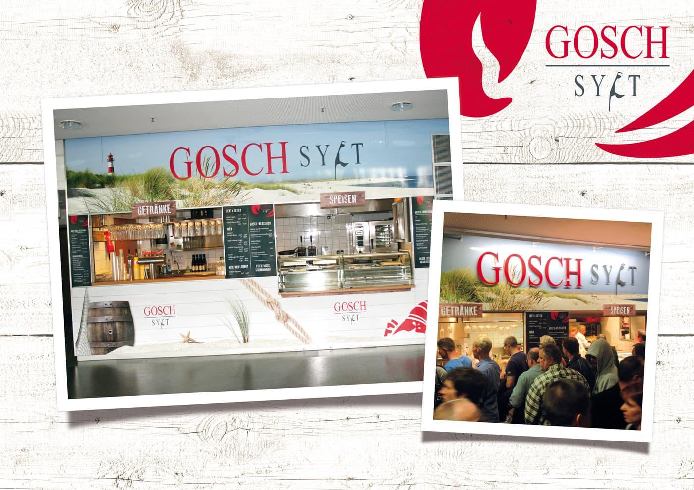 """CD-Entwicklung und Markenführung für """"GOSCH Sylt"""": Branding GOSCH-Store in der Sparkassen Arena Kiel."""