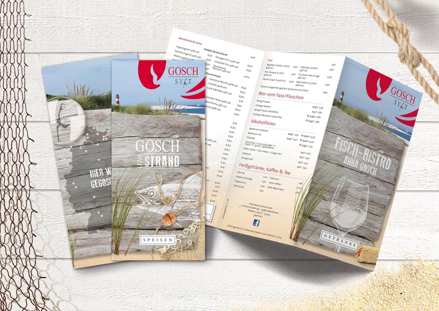 """CD-Entwicklung und Markenführung für """"GOSCH Sylt"""": Konsequent durchgängiges Design für Speise- und Getränke-Karten"""