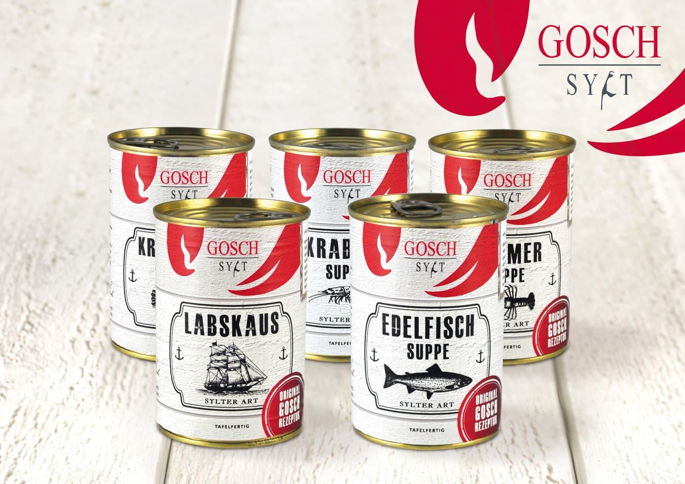 """CD-Entwicklung und Markenführung für """"GOSCH Sylt"""": Packaging: Dosen für Suppen und Eintöpfe"""