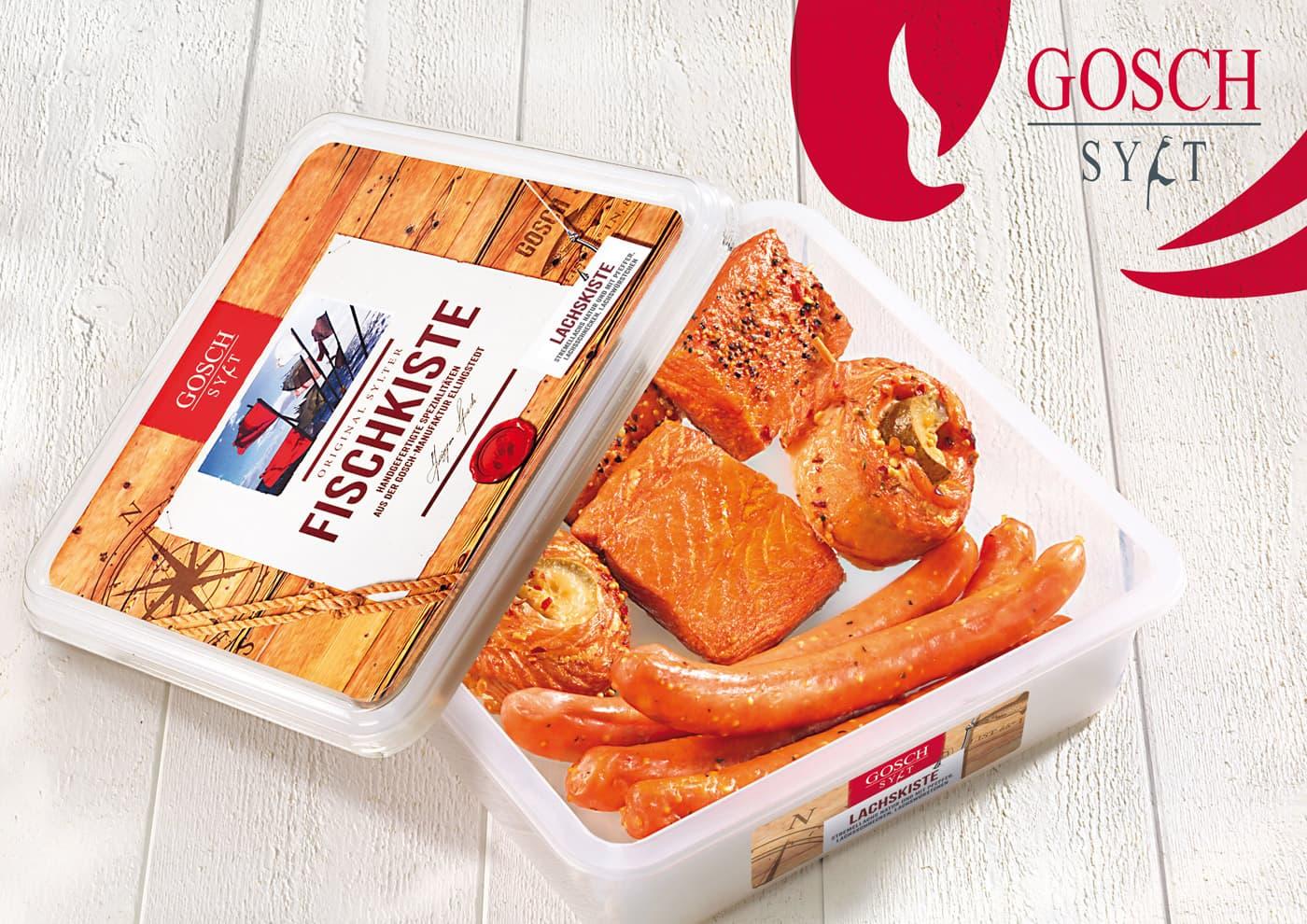 """CD-Entwicklung und Markenführung für """"GOSCH Sylt"""": Packaging für verschiedene Fisch-Produkte"""