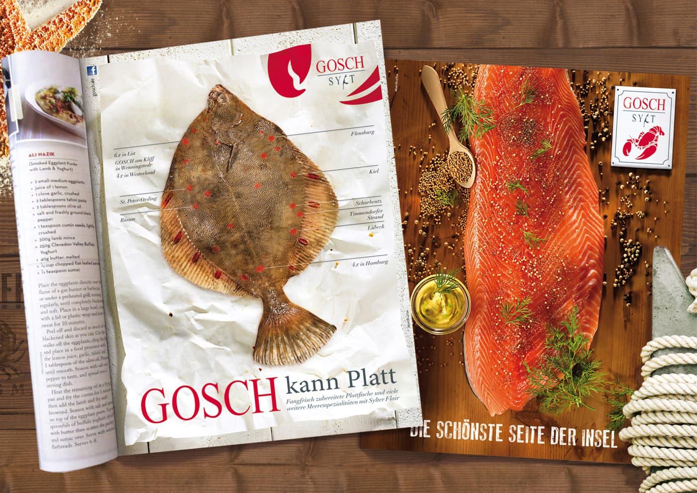 """CD-Entwicklung und Markenführung für """"GOSCH Sylt"""": Anzeigen für verschiedene Magazin- und Zeitungs-Formate"""