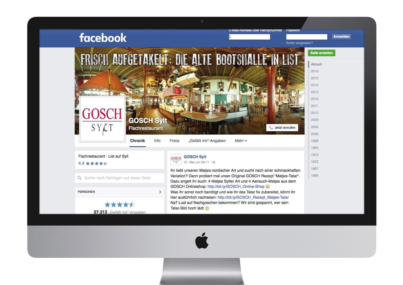 """CD-Entwicklung und Markenführung für """"GOSCH Sylt"""": Postings und Aktionen für die Facebook-Seite"""