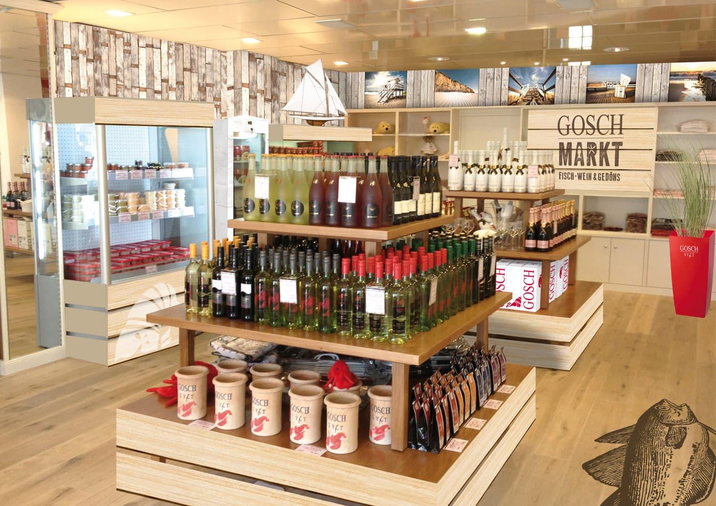 """CD-Entwicklung und Markenführung für """"GOSCH Sylt"""": Branding Merchandise-Store in Westerland (Entwurf)"""