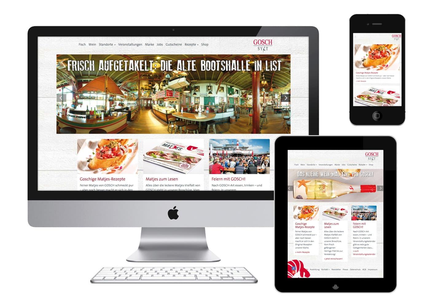 """CD-Entwicklung und Markenführung für """"GOSCH Sylt"""": Desktop, Tablet oder Mobile: Unternehmens-Website im Responsive-Design"""