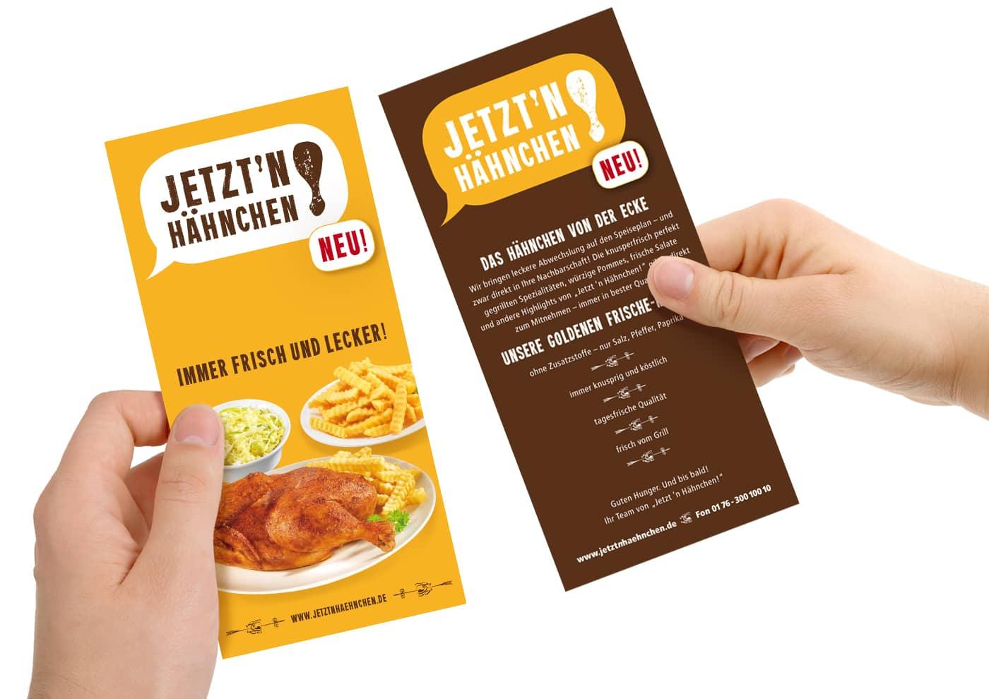 """Markenentwicklung und -betreuung für """"Jetzt 'n Hähnchen!"""" - Flyer"""