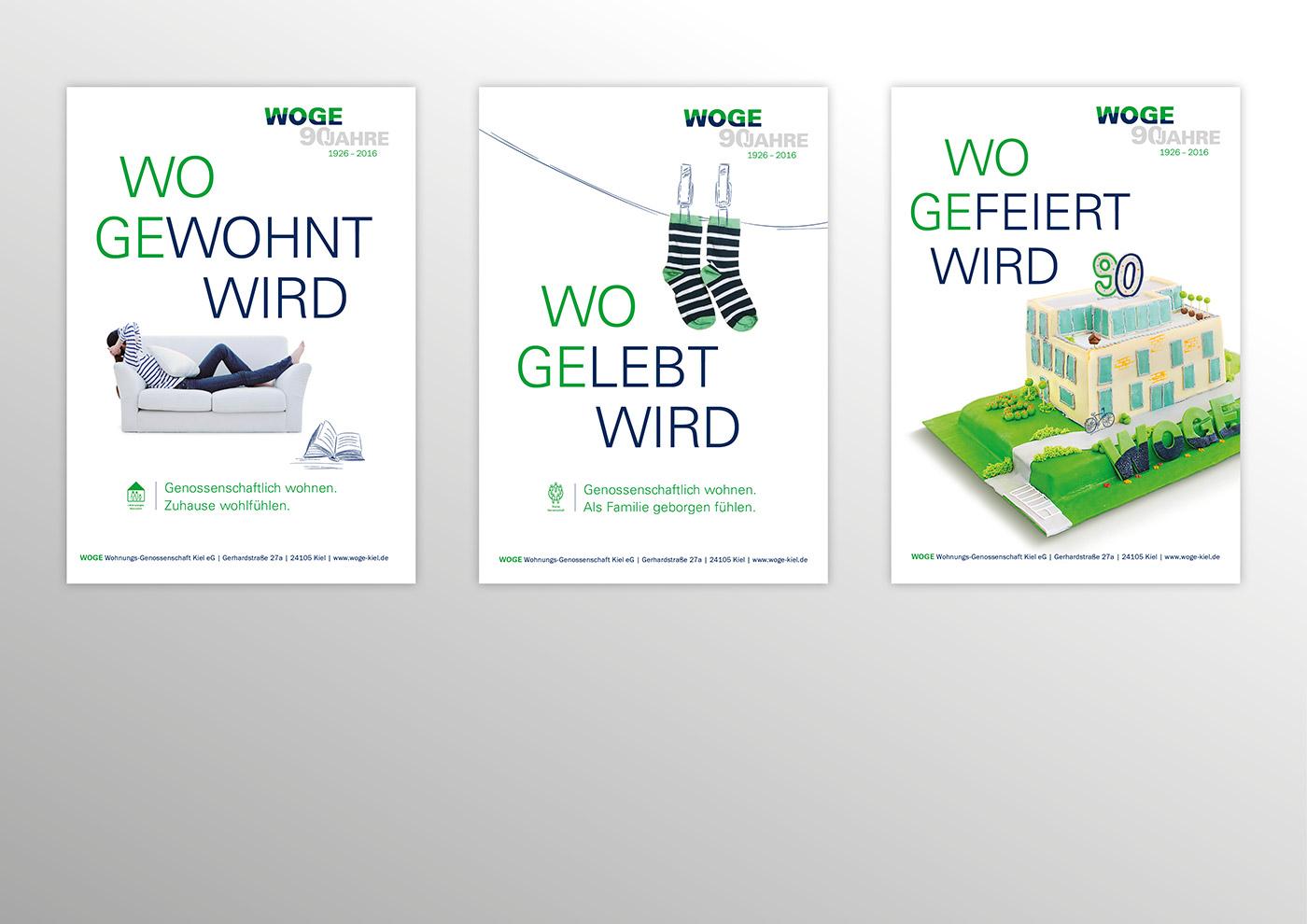 Corporate Design und Kommunikation für die WOGE Kiel: Anzeigen-Konzept