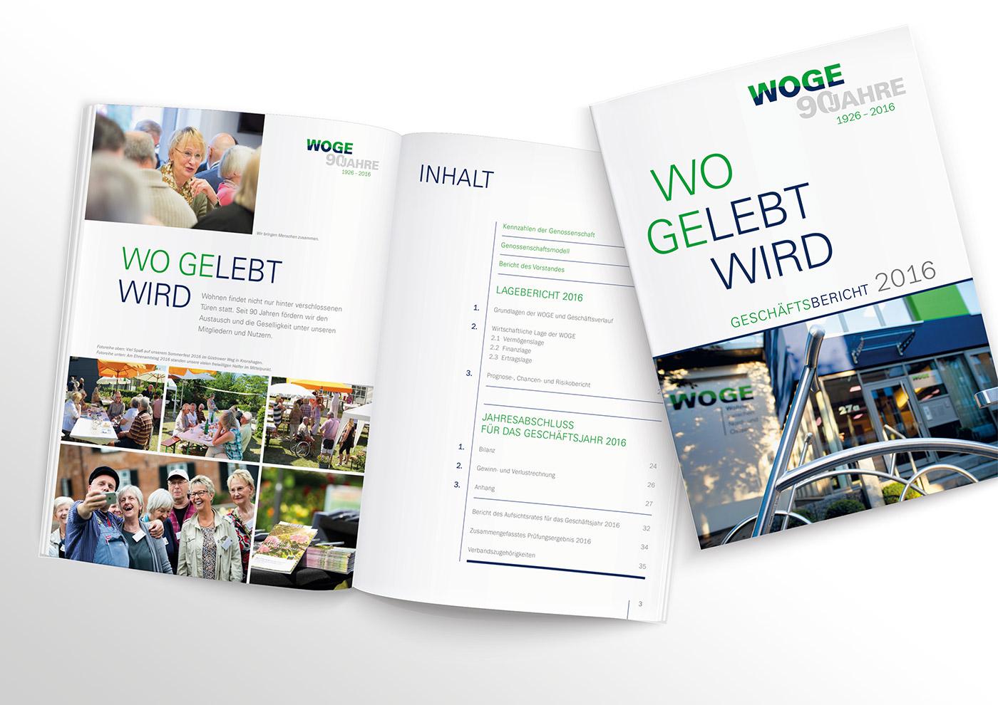 Corporate Design und Kommunikation für die WOGE Kiel: Geschäftsbericht