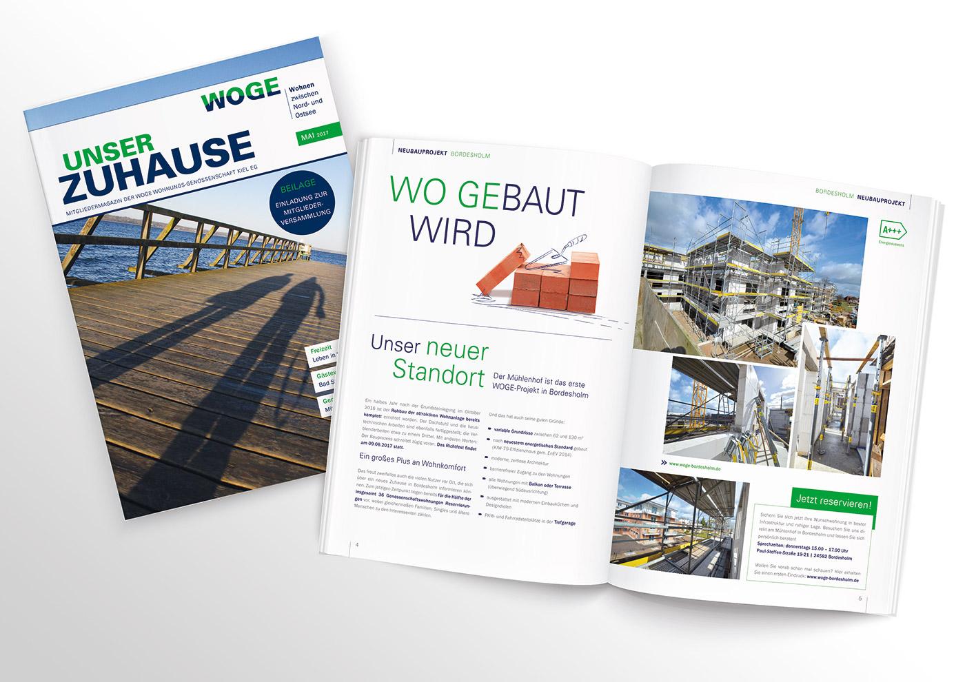 Corporate Design und Kommunikation für die WOGE Kiel: Mitglieder-Magazin