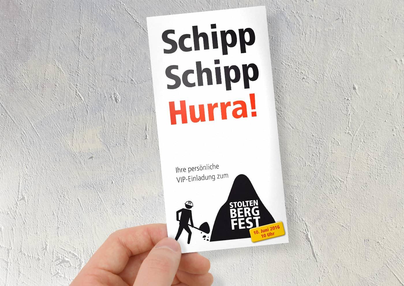 Event-, Print- und Online-Konzeption für die Unternehmensgruppe Stoltenberg: Einladungskarte