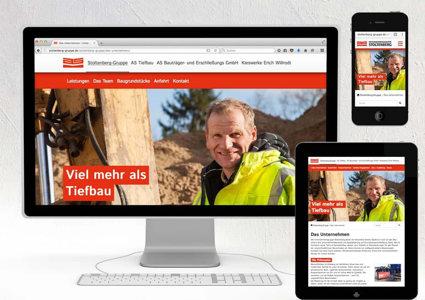 Event-, Print- und Online-Konzeption für die Unternehmensgruppe Stoltenberg: Internet
