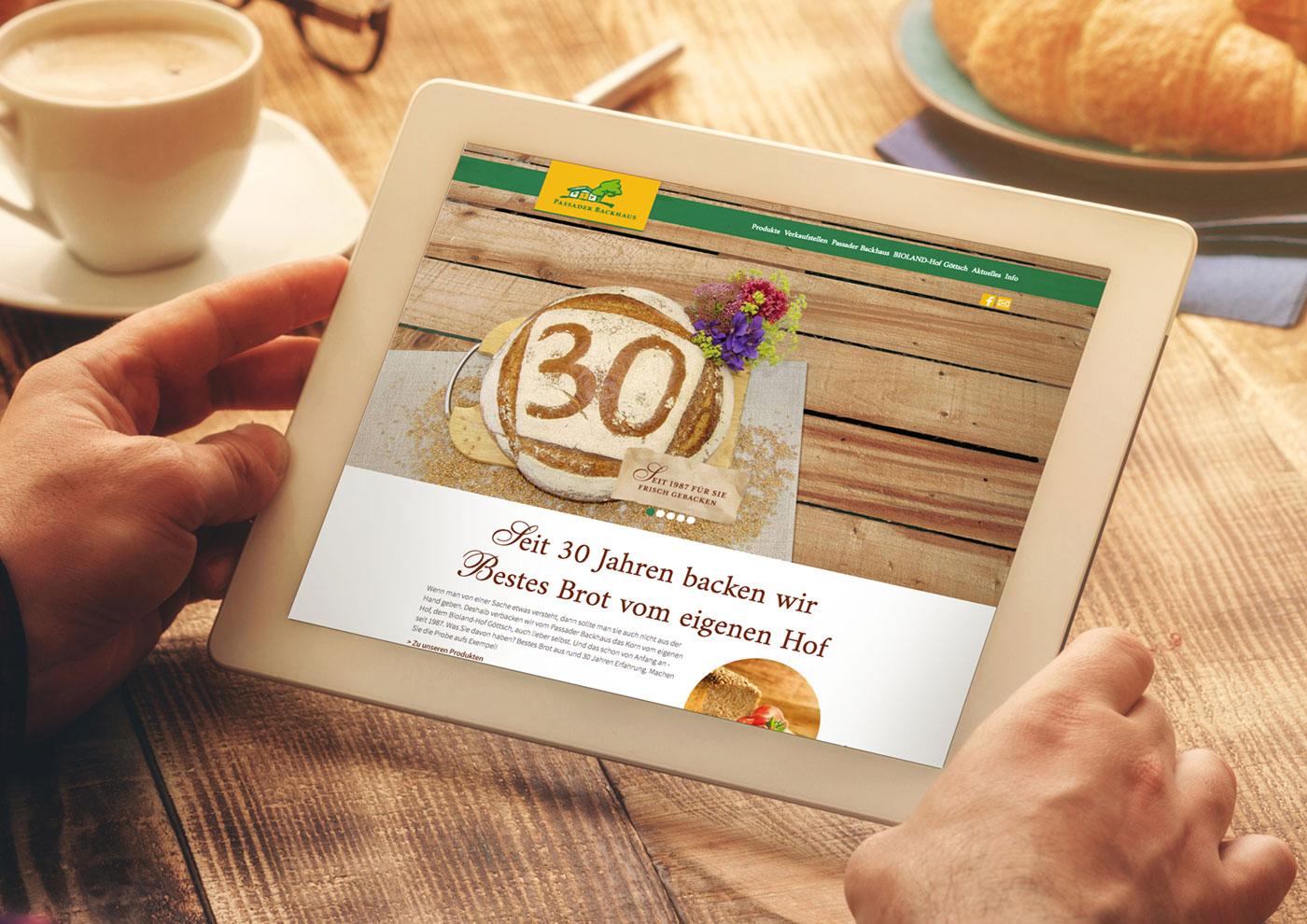 Markenführung für die Biobäckerei Passaader Backhaus: Website, Responsive Design