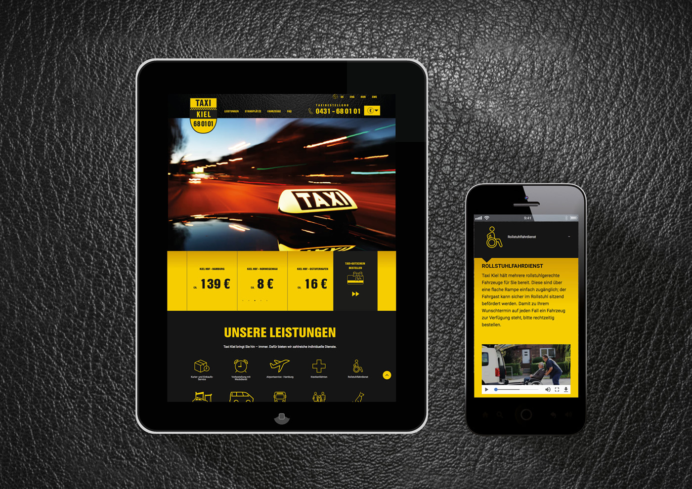 Web-Relaunch und Corporate Design für Taxi Kiel: Internet