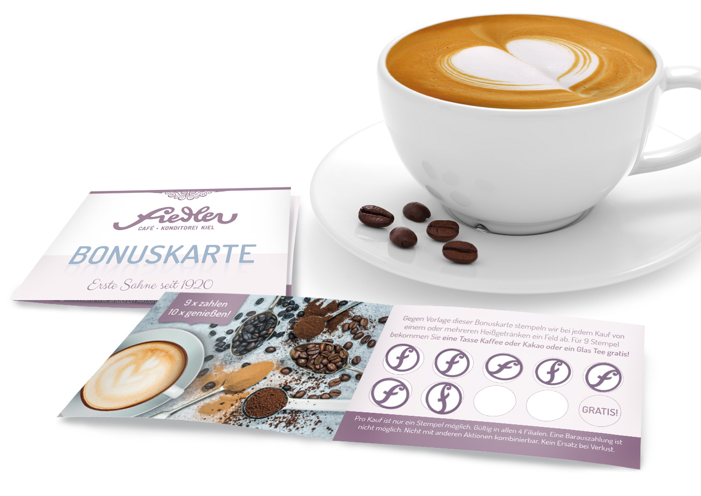 CD-Relaunch, Web und Social Media für Café Fiedler - Bonuskarte