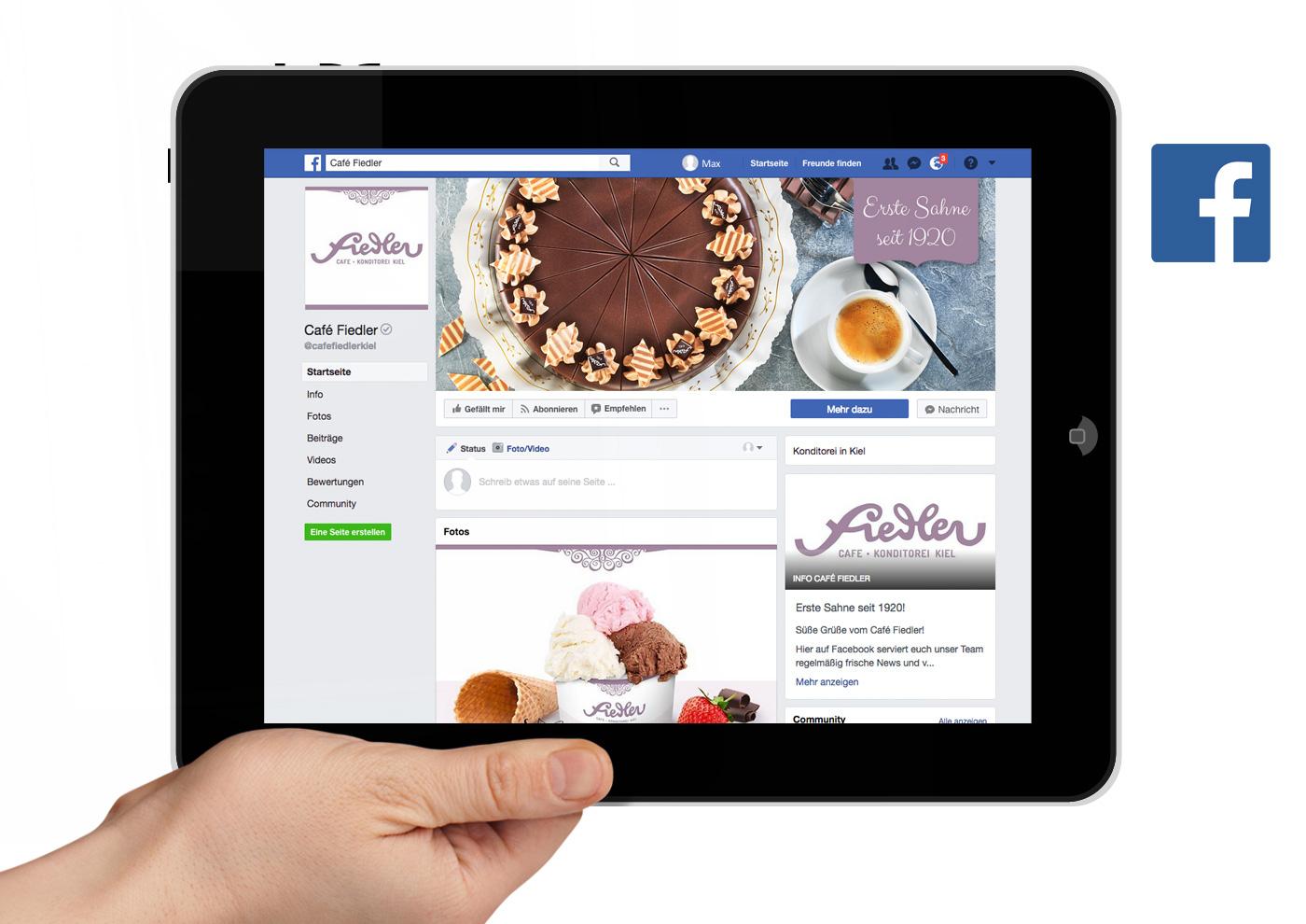 CD-Relaunch, Web und Social Media für Café Fiedler - Facebook