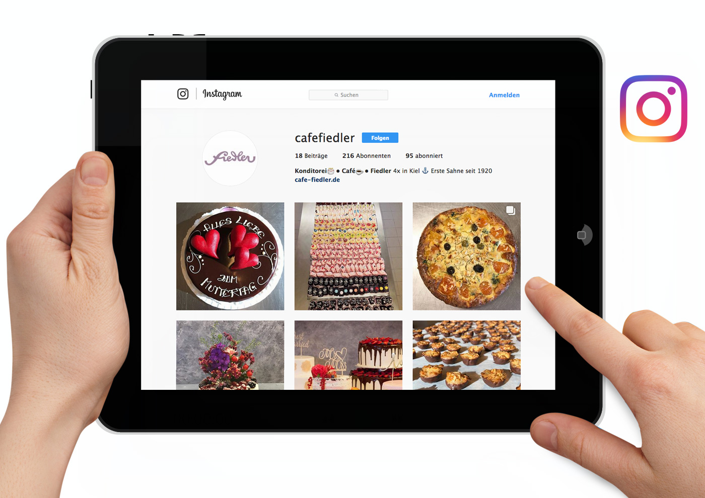CD-Relaunch, Web und Social Media für Café Fiedler - Instagram