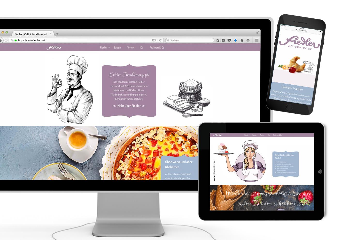 CD-Relaunch, Web und Social Media für Café Fiedler - Web